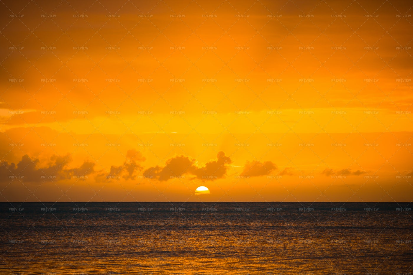 Orange Sunset Over Ocean: Stock Photos