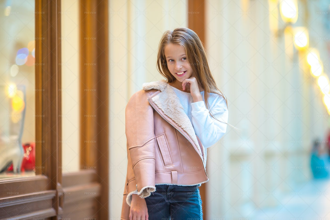 Girl Posing In Shopping Mall: Stock Photos