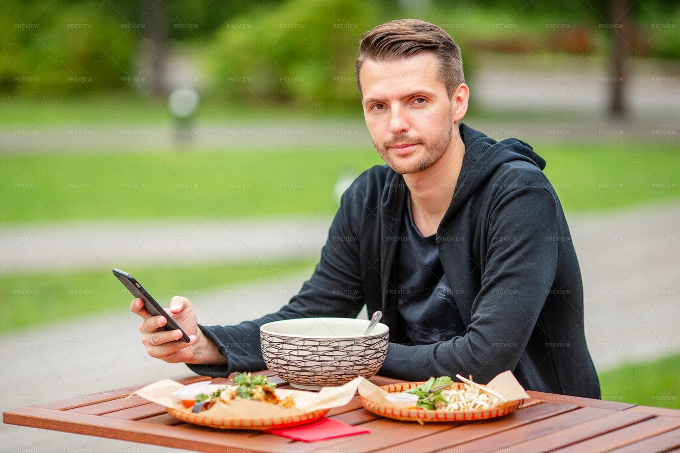 Man Eating Noodles: Stock Photos