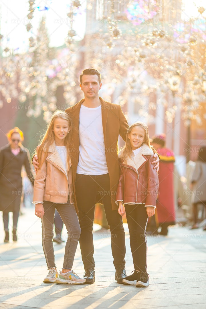Father With Kids At Market: Stock Photos