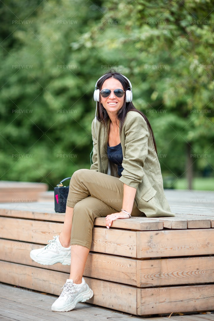Listening Music In The Outdoors: Stock Photos