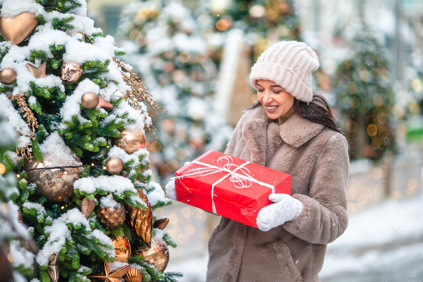 Woman With Christmas Present: Stock Photos
