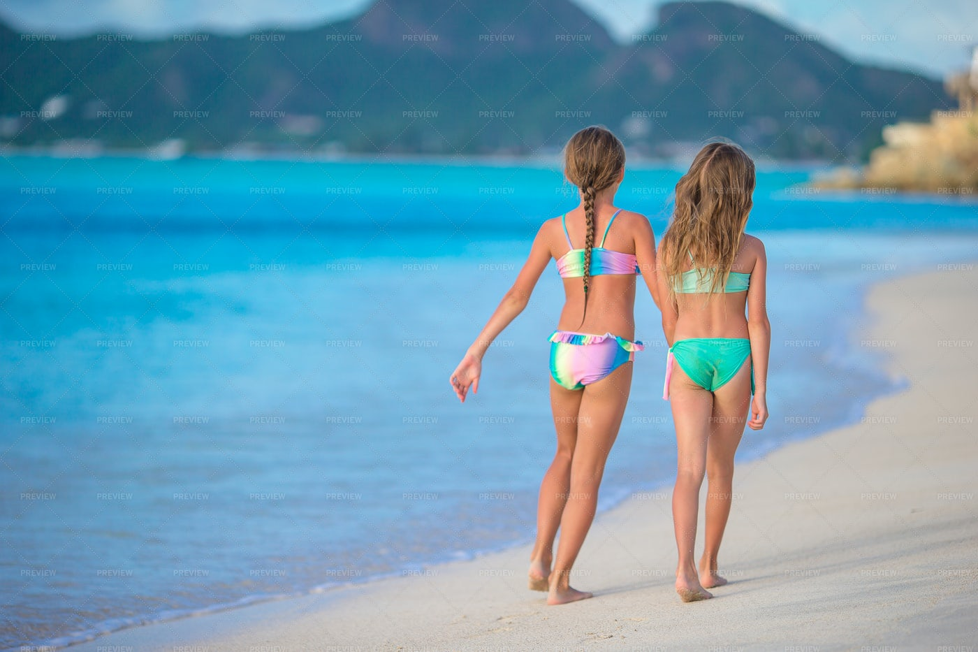 Sisters At The Beach: Stock Photos