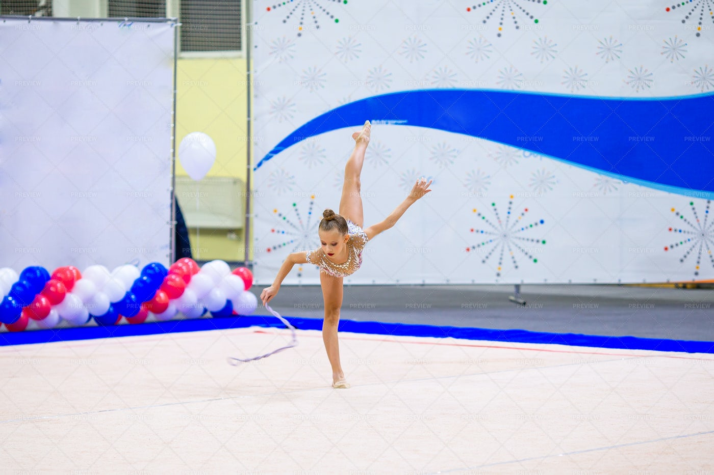 Child Gymnast Performs: Stock Photos