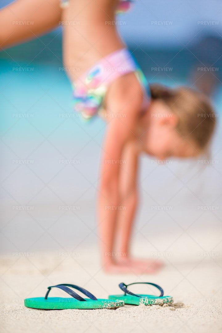 Flip Flops At The Beach: Stock Photos