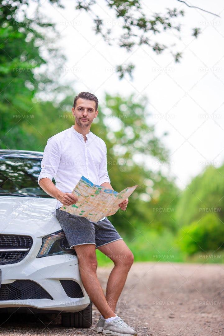 Navigating On Road Trip: Stock Photos