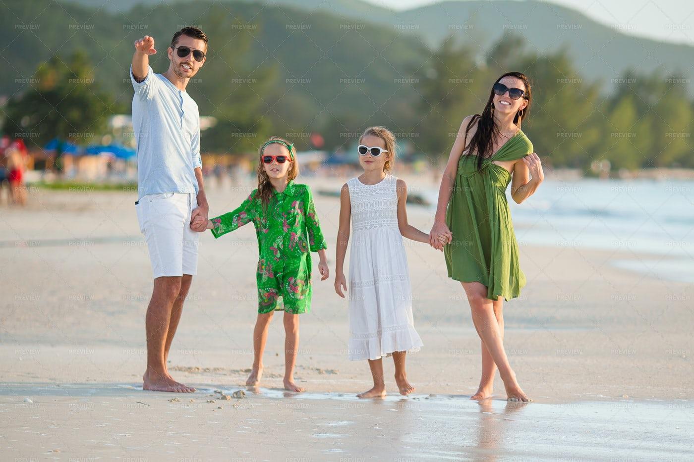 Family On Tropical Beach Vacation: Stock Photos