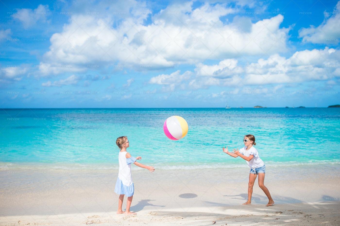 Playing Beach Ball: Stock Photos