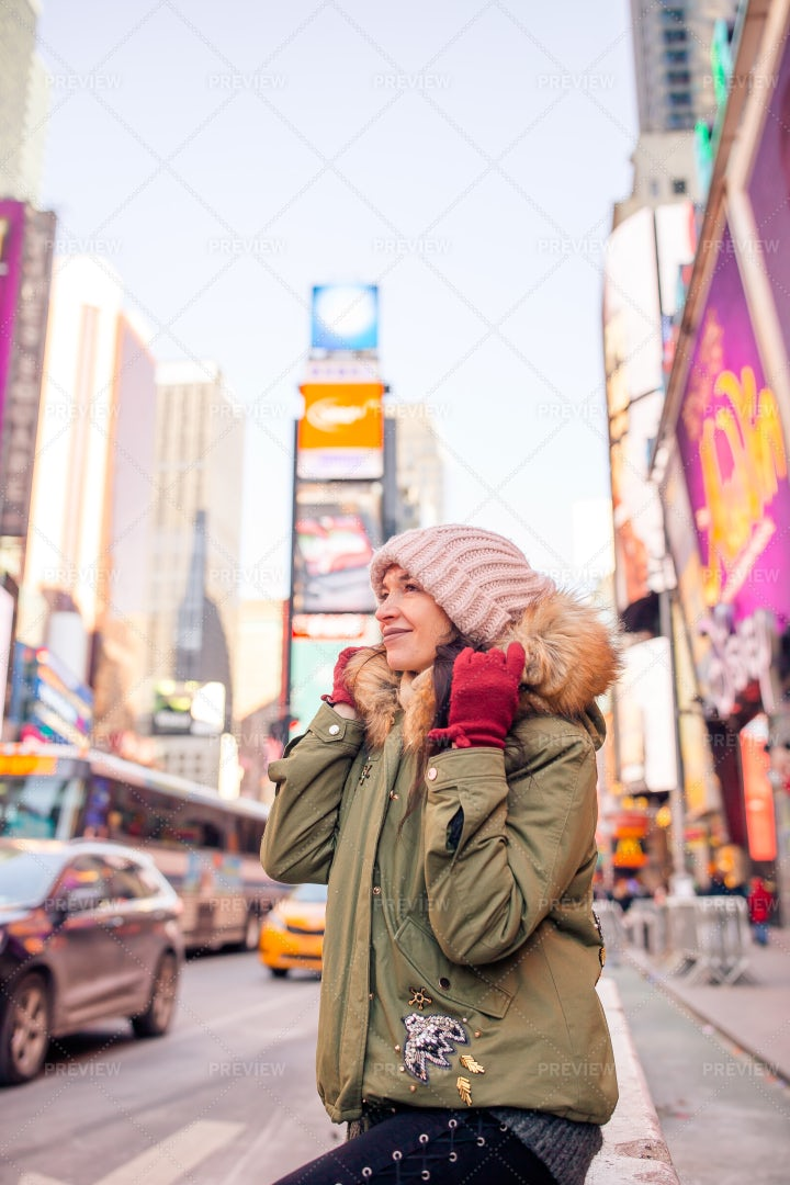 Sitting In Times Square: Stock Photos