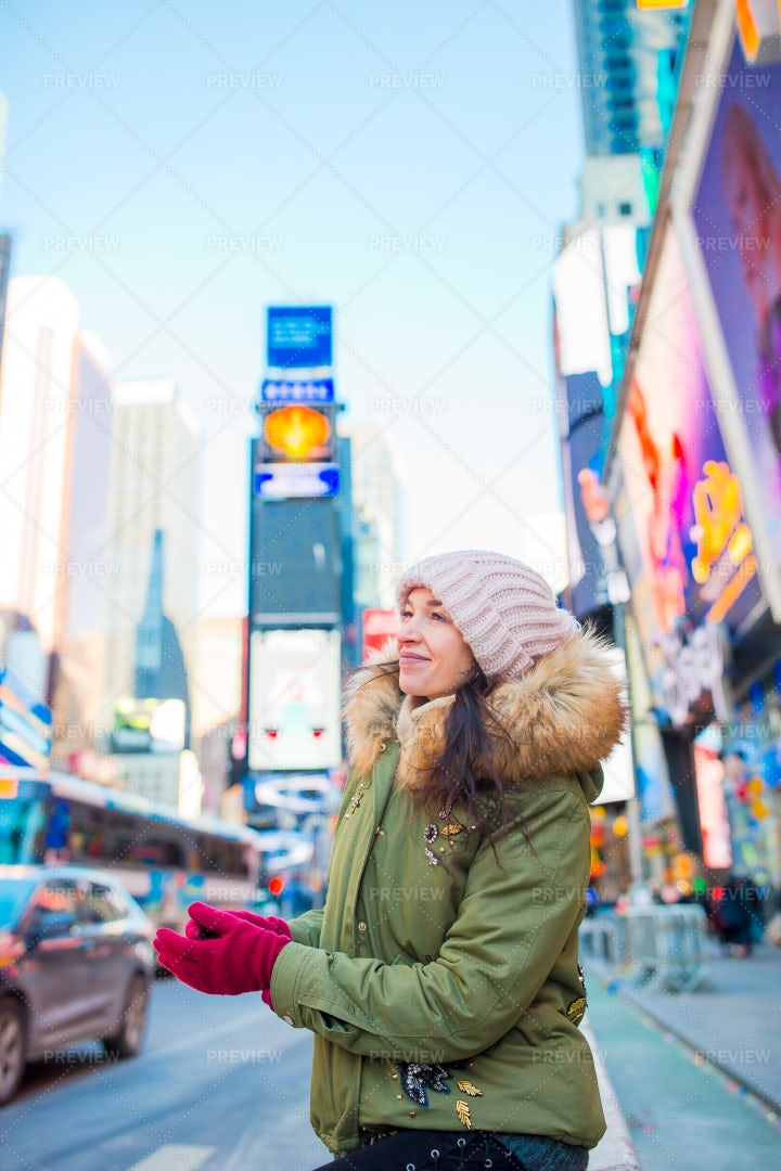 Times Square During Winter: Stock Photos