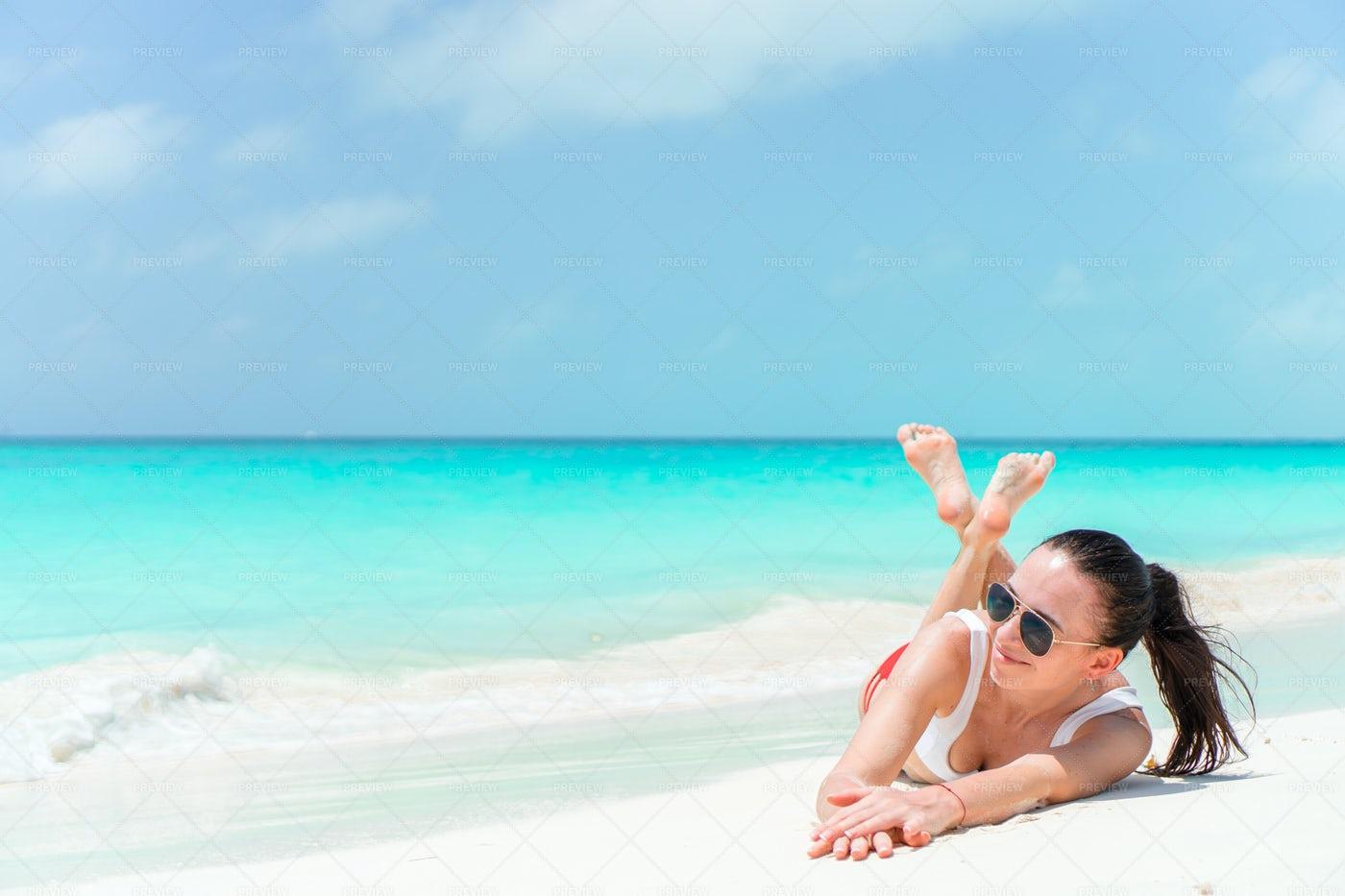 Lying On Caribbean Beach: Stock Photos