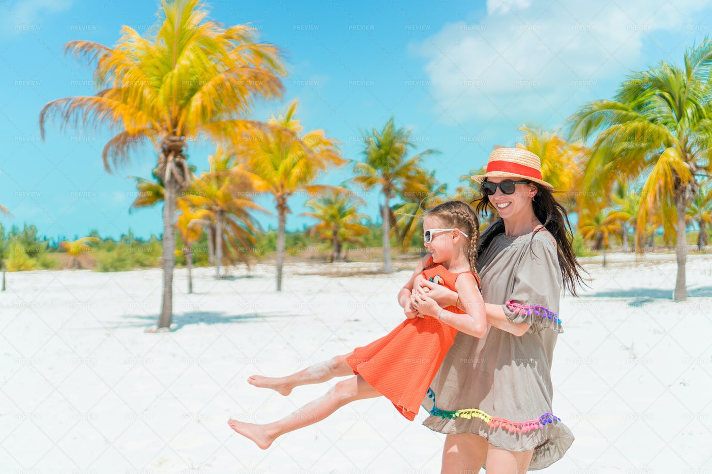 Mother And Daughter Beach Portrait: Stock Photos