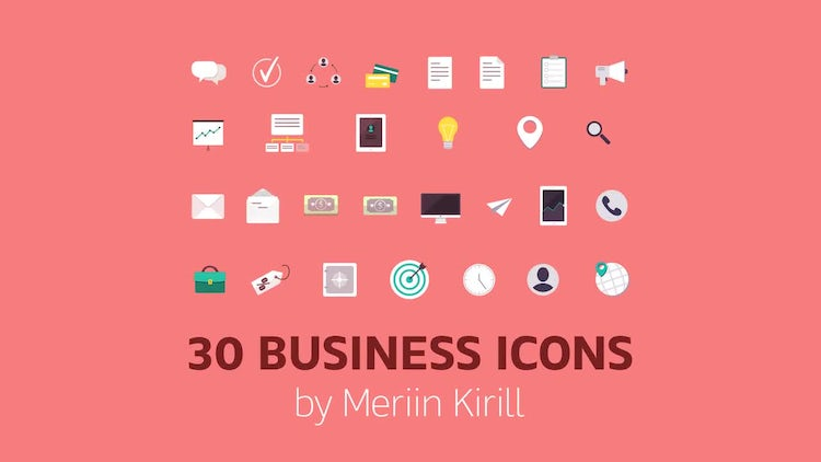 30 Business Icons: After Effects Templates