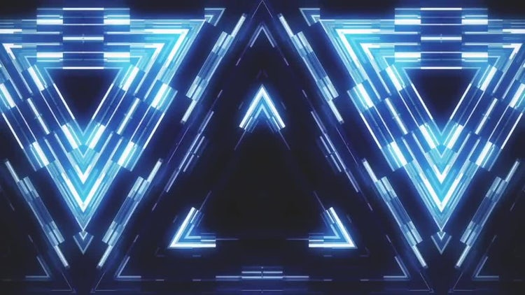 Glowing Blocky Triangles Loop: Motion Graphics