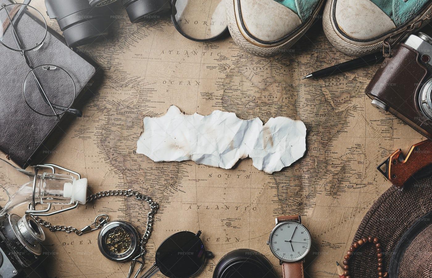 Burnt Paper Travel Concept: Stock Photos