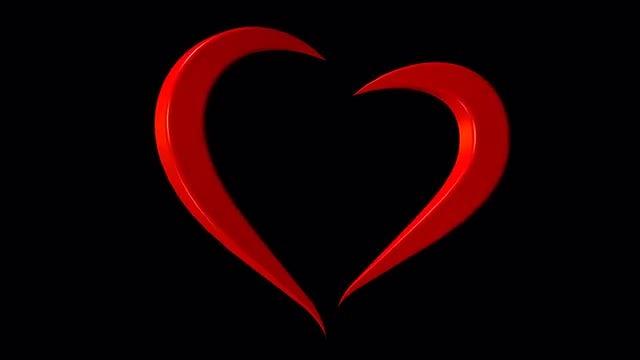 Rotating Heart Alpha Loop: Stock Motion Graphics