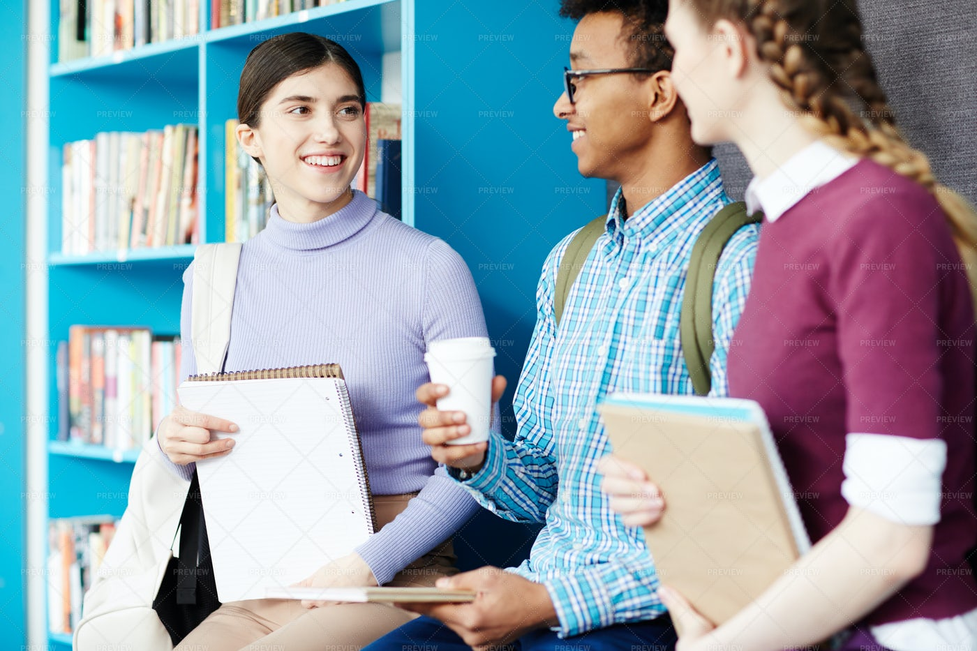 Talking In Library: Stock Photos