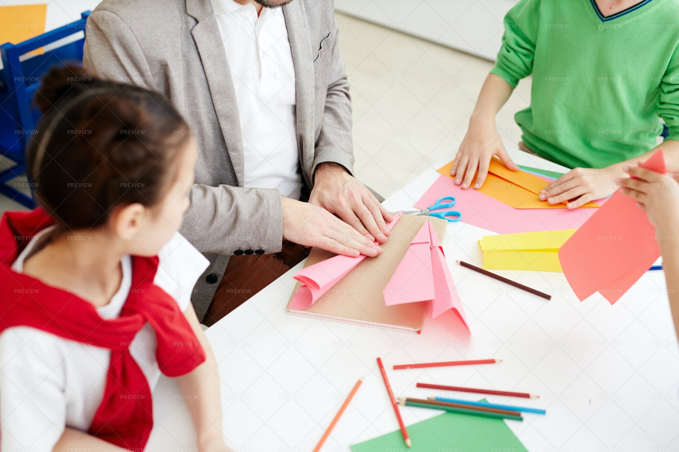 Kids Making Paper Airplanes: Stock Photos