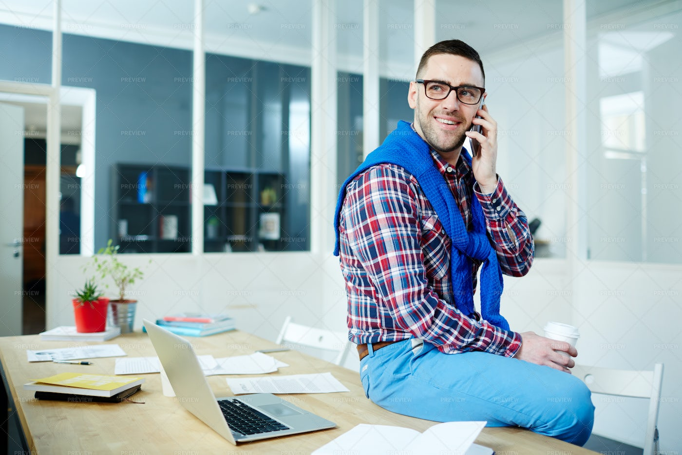 Calling In Office: Stock Photos