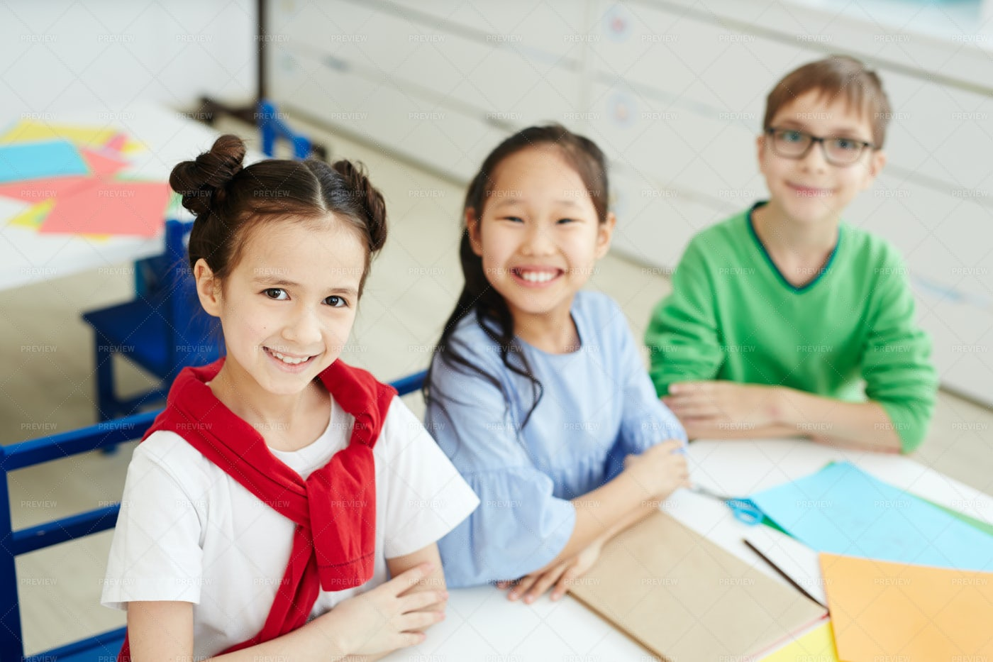 Happy Children On Art Class: Stock Photos