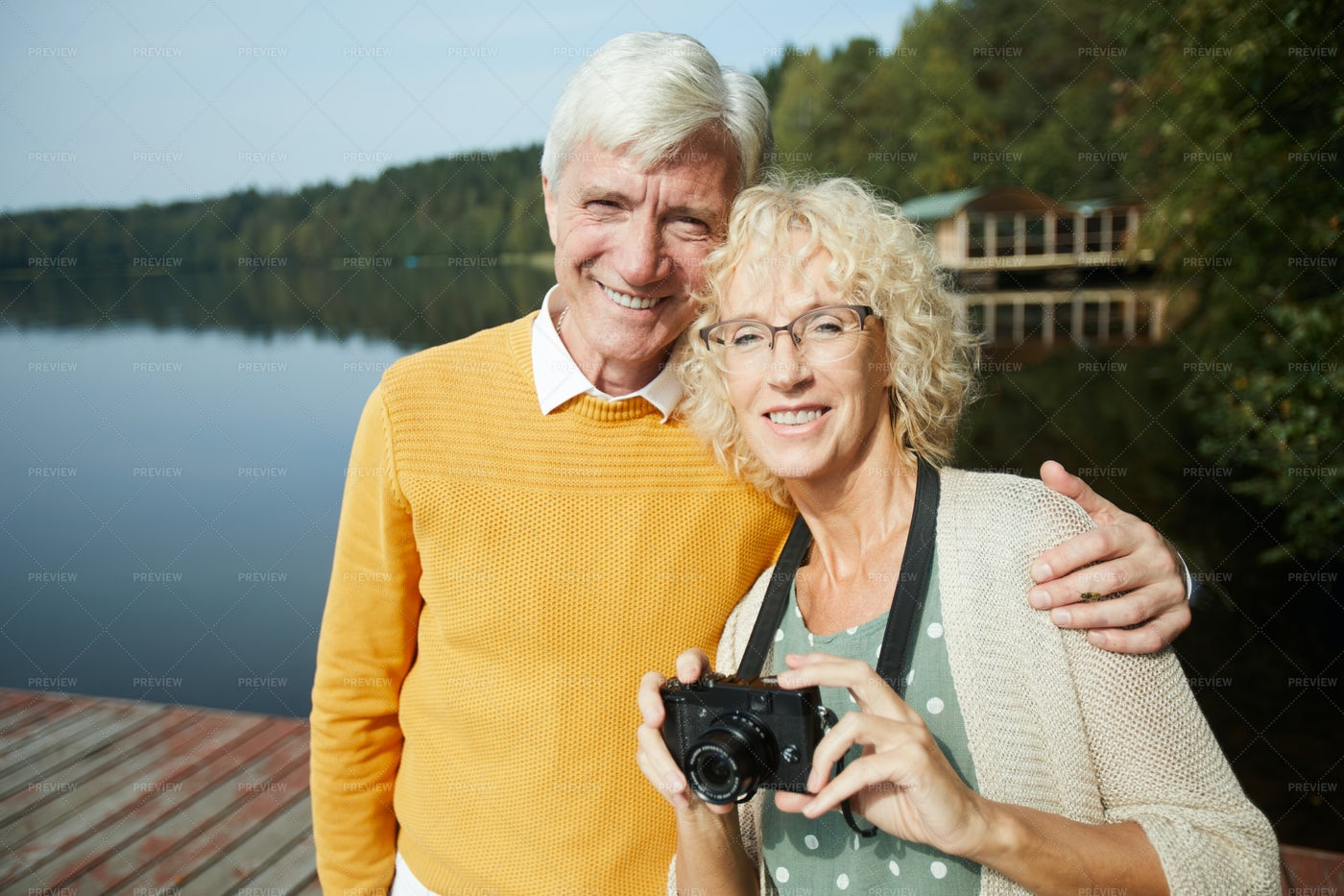 Happy Senior Tourists In Country: Stock Photos