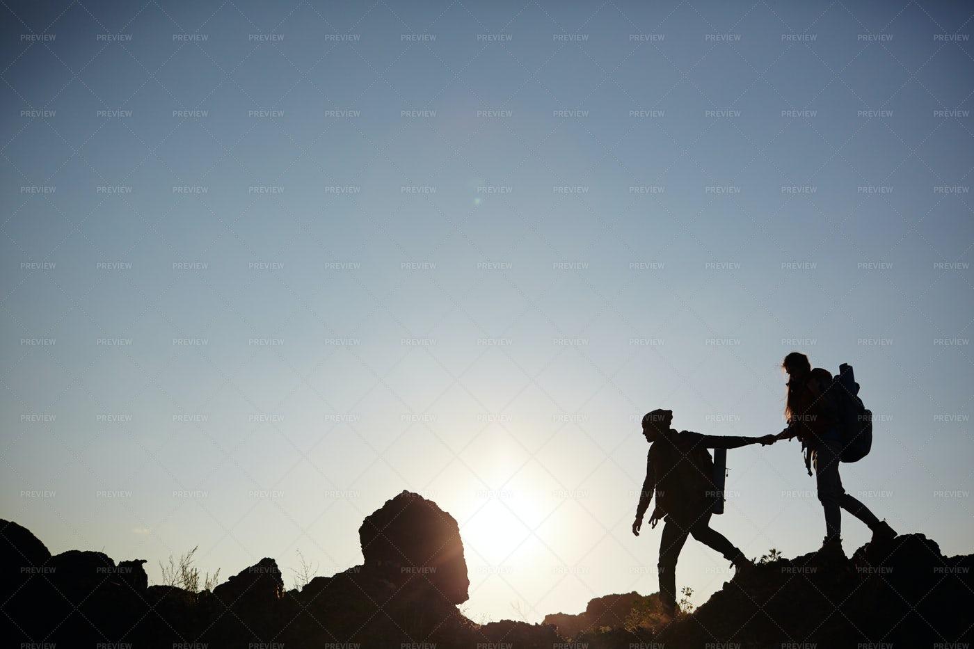 Walking At The Top Of Mountain: Stock Photos