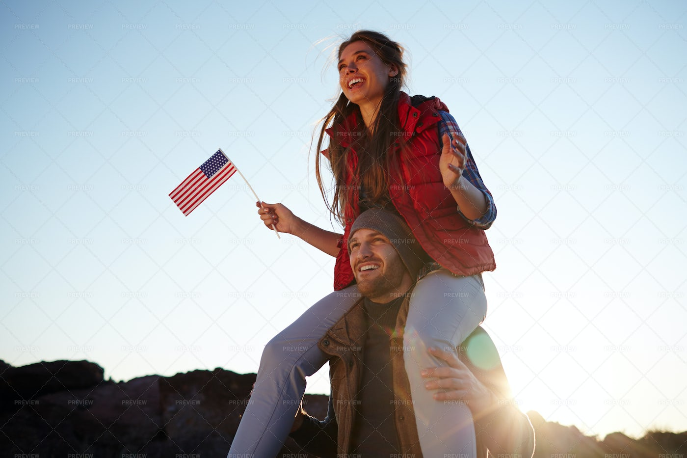 Young Happy Americans On Hike: Stock Photos