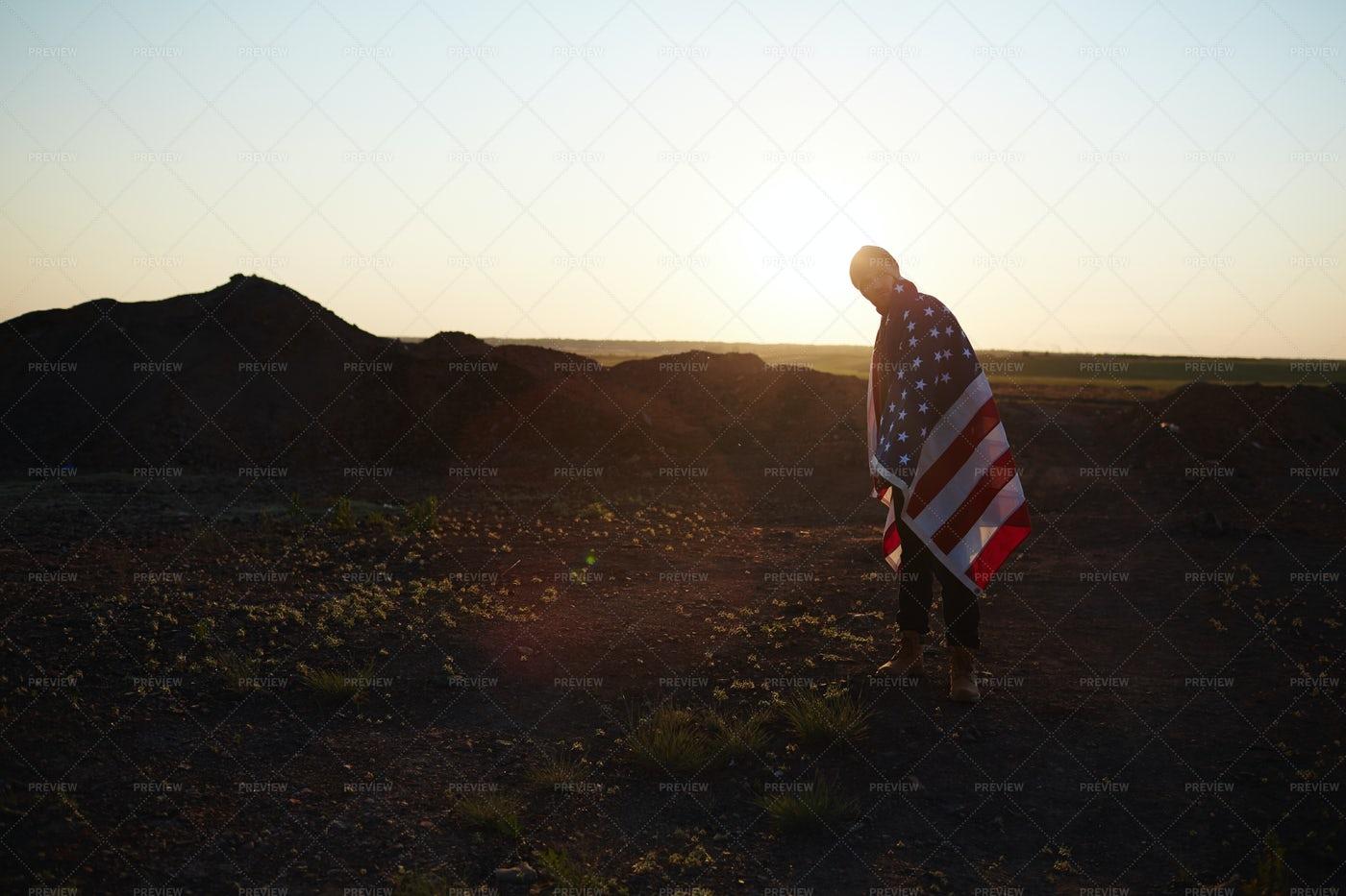 Lone Traveler In Mountains: Stock Photos