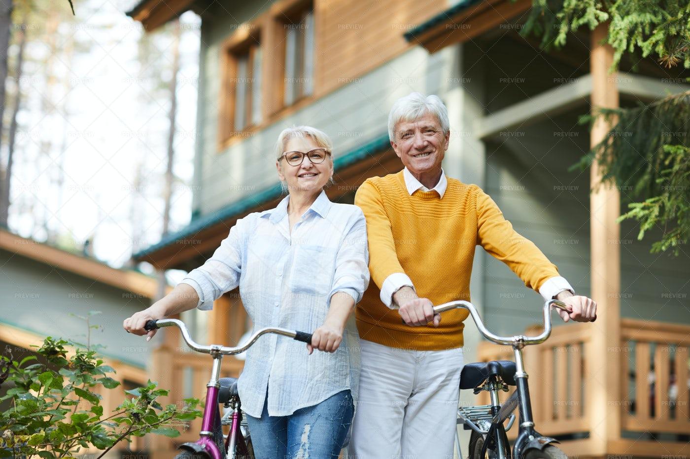 Ctive Senior Couples With Bicycles: Stock Photos