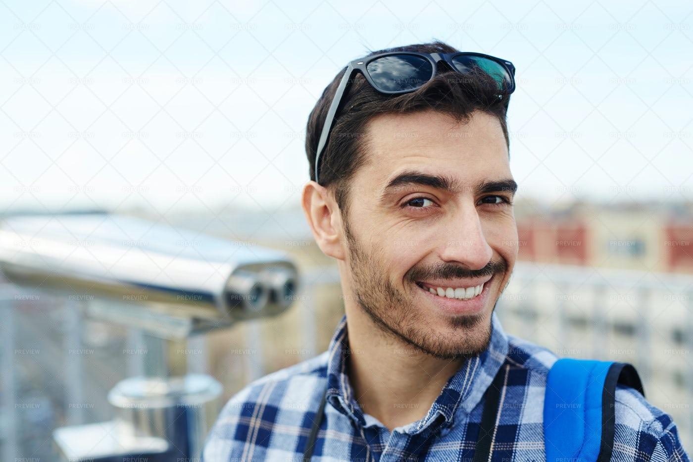 Smiling Tourist Enjoying Vacation Trip: Stock Photos