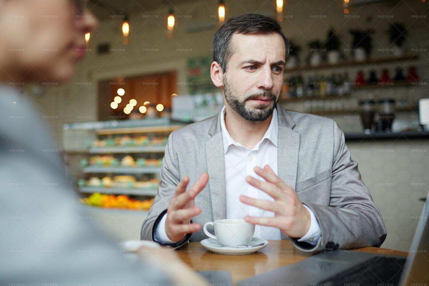 Presentation In Cafe: Stock Photos