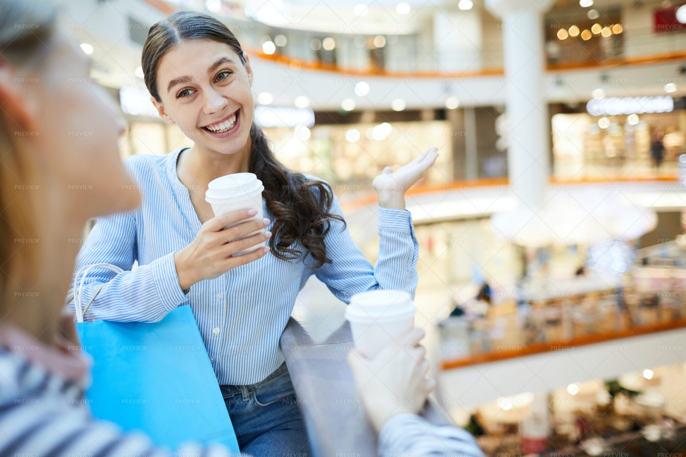 Having Drink In The Mall: Stock Photos