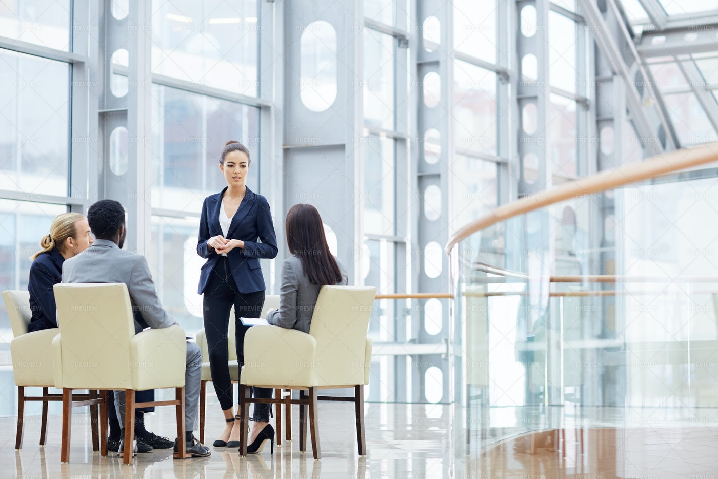 Business Meeting In Glass Hall: Stock Photos