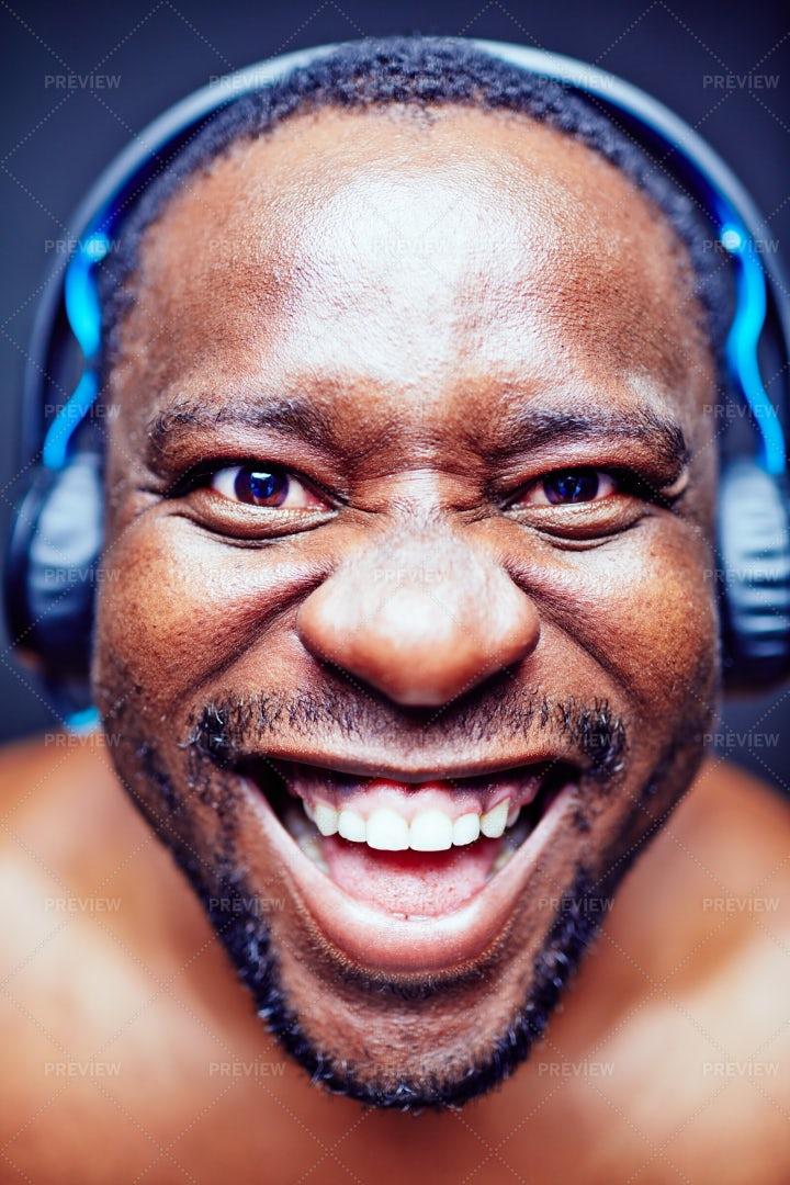 Headshot Of Funny Music Lover: Stock Photos