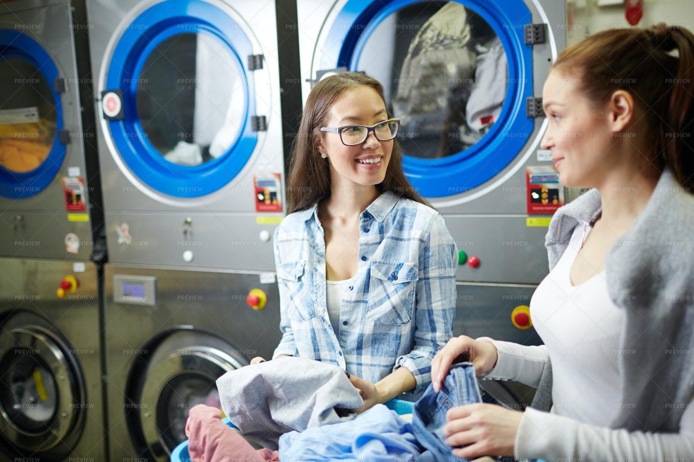 Girls In Laundry: Stock Photos