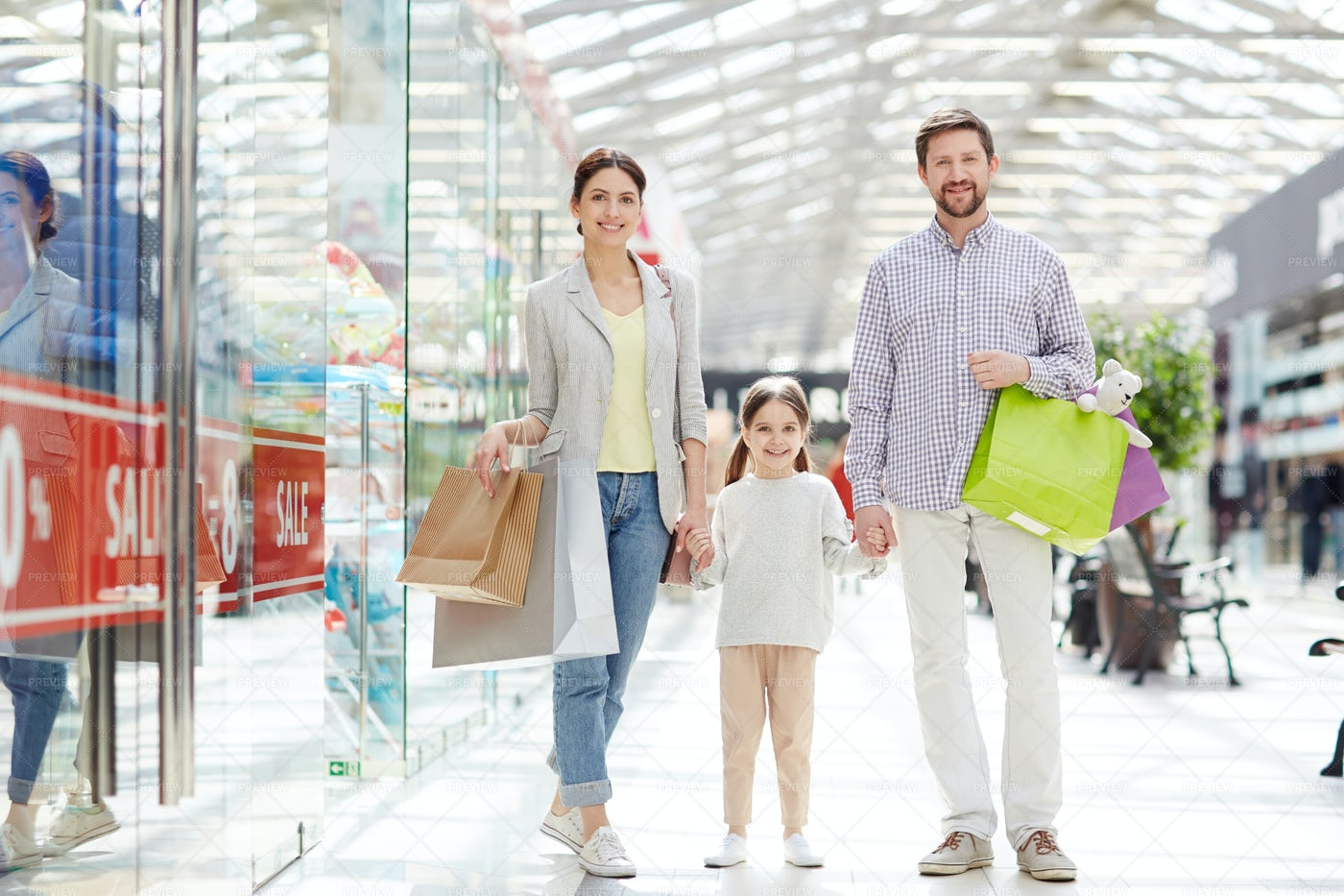 Shopping With Parents: Stock Photos