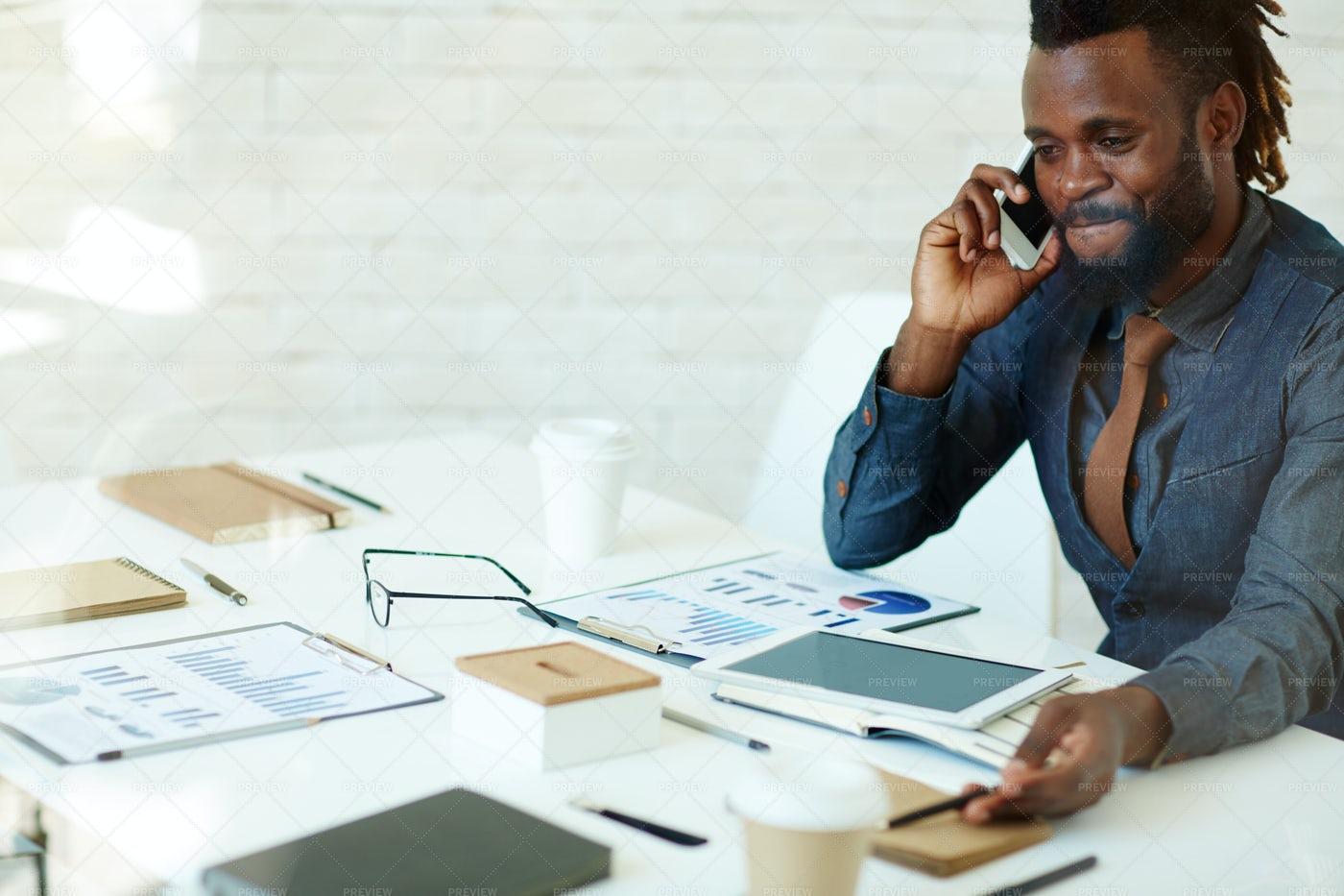Productive Telephone Conversation: Stock Photos