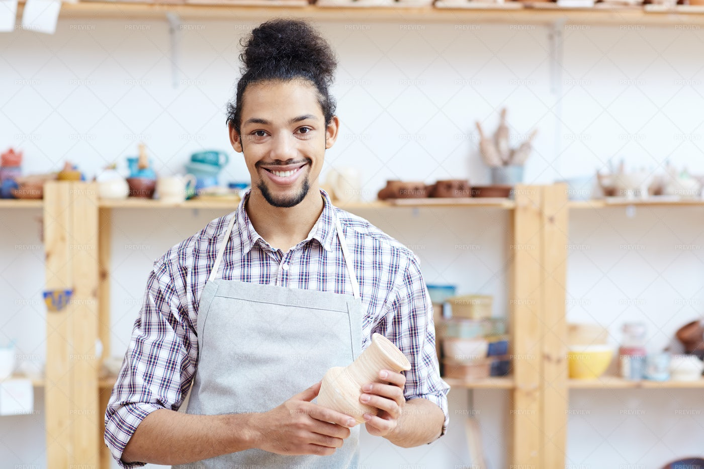 Cheerful Male Potter: Stock Photos