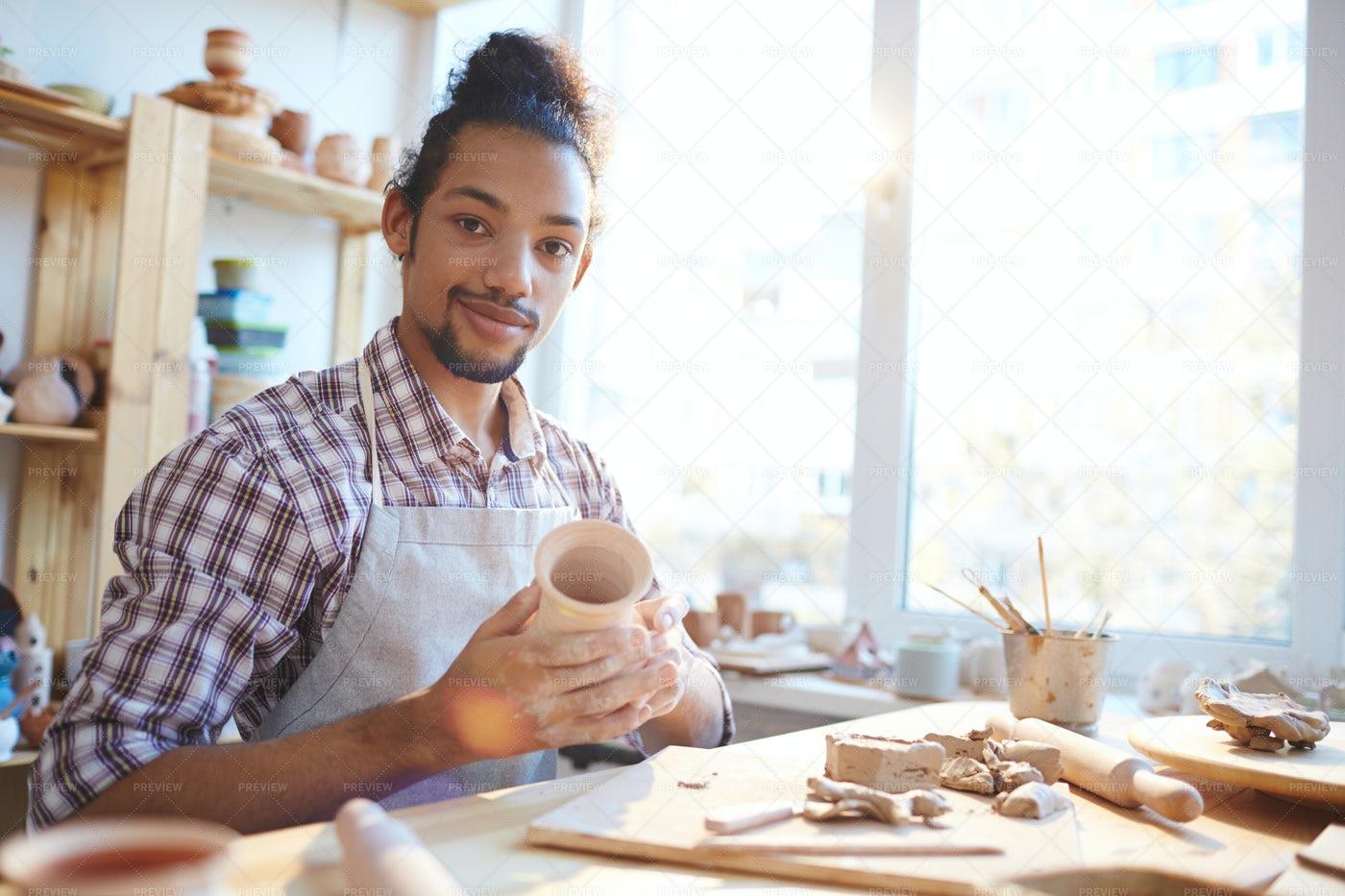 Ceramist With Handmade Vase: Stock Photos