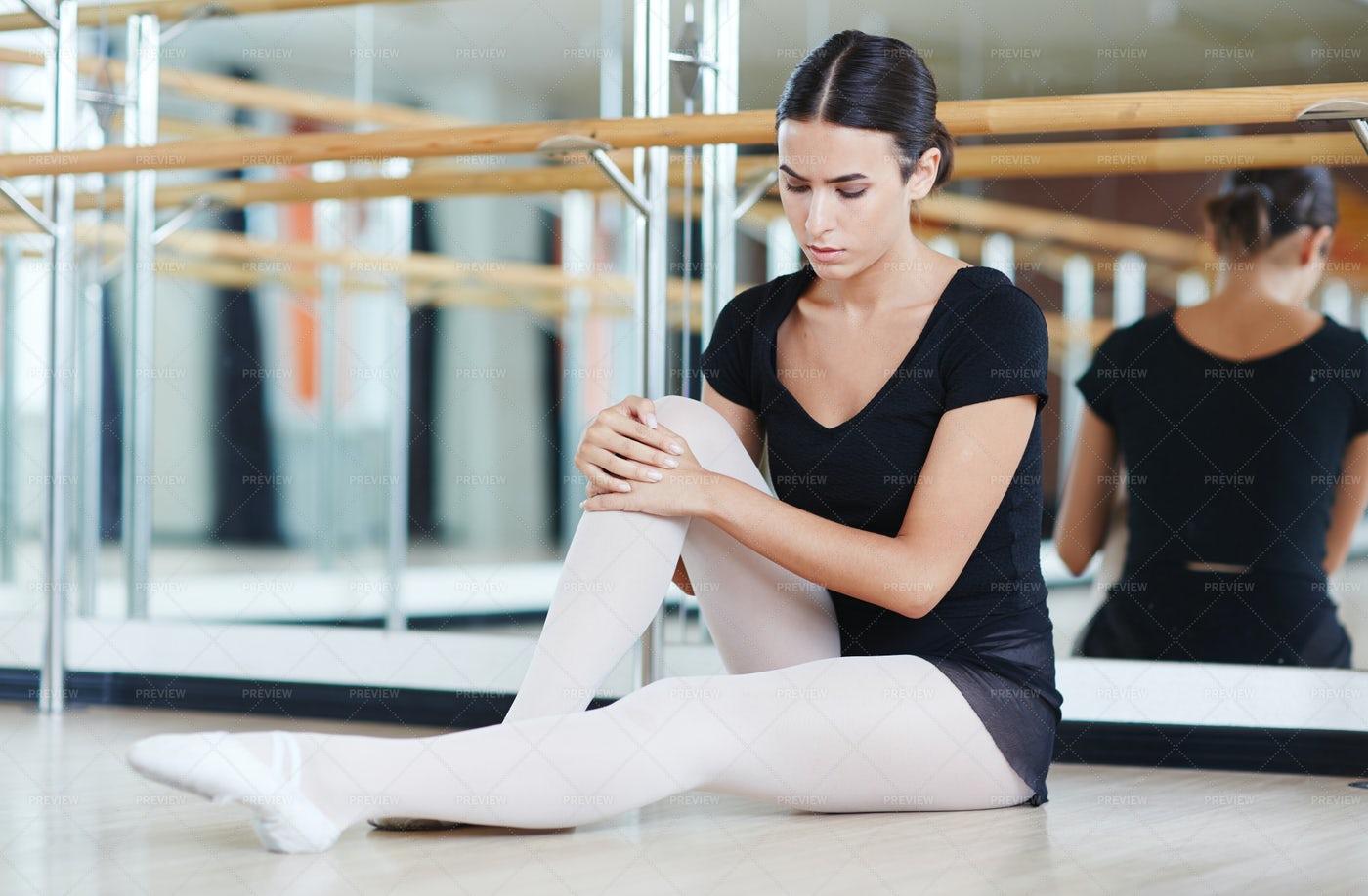 Young Girl Preparing For Ballet Class: Stock Photos