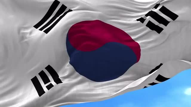 South Korea Flag Animation: Stock Motion Graphics