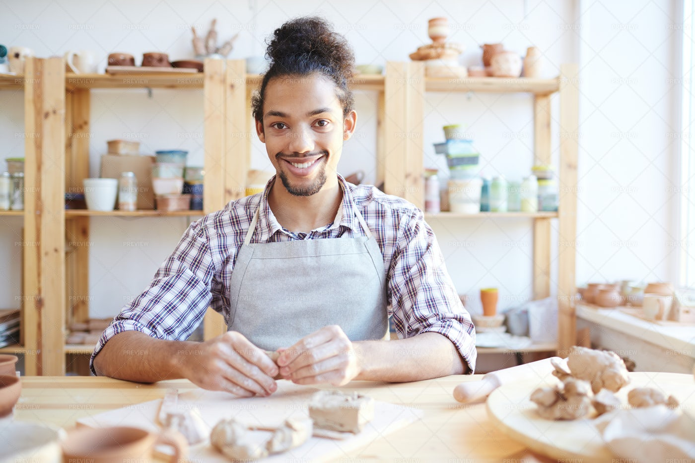 Happy Ceramic Master At Work: Stock Photos