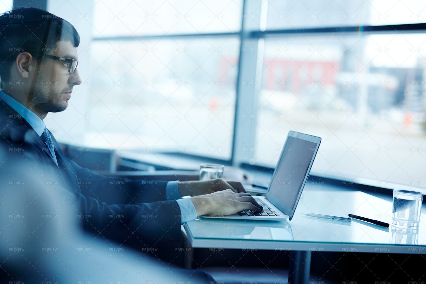 Young Businessman Concentrated On Work: Stock Photos