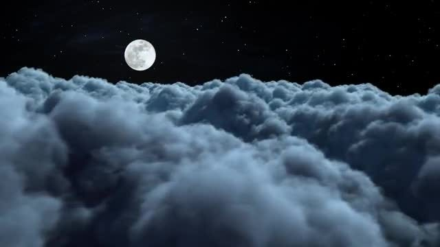 Fly Above The Night Clouds: Stock Motion Graphics