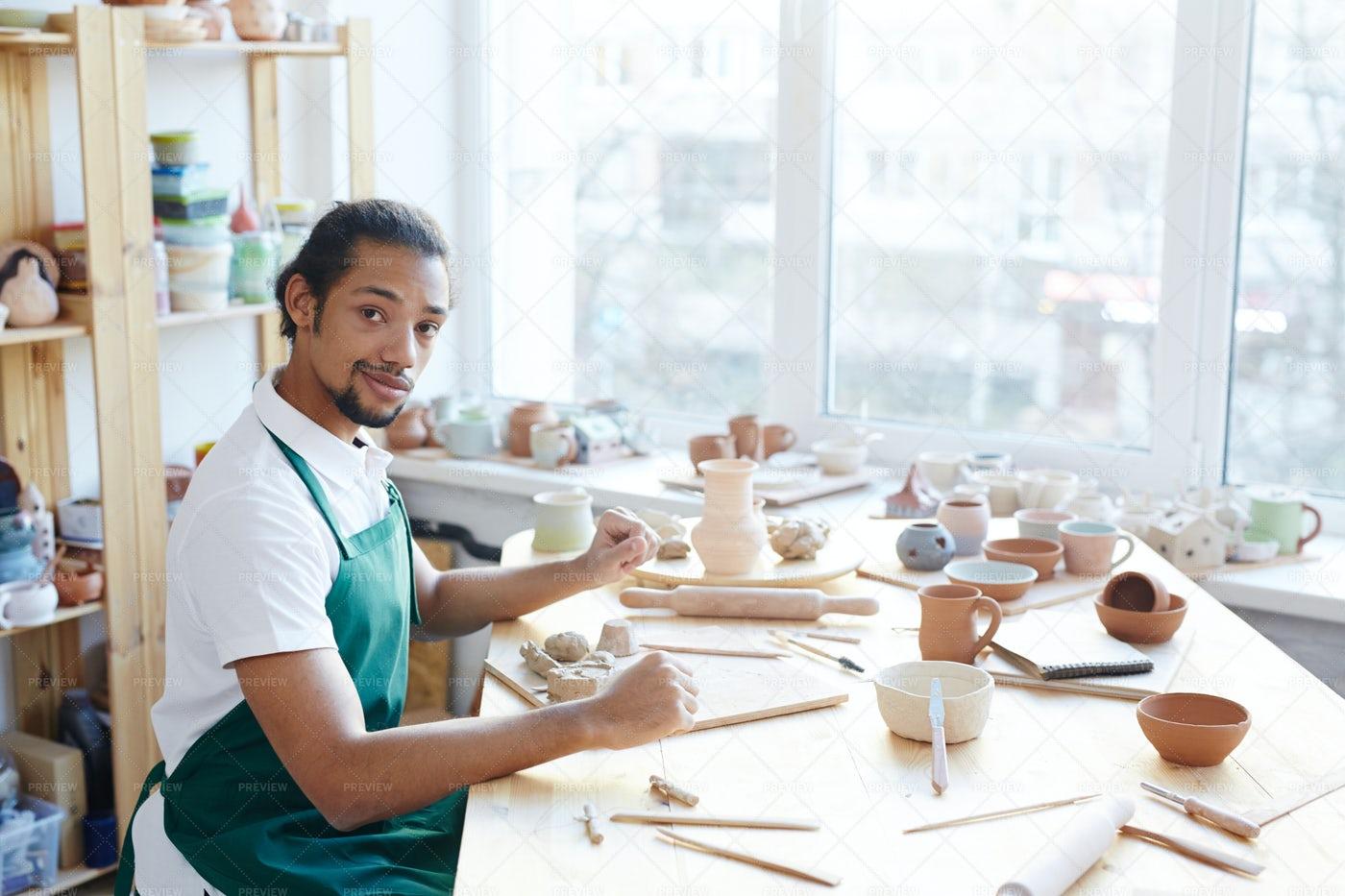 Confident Craftsman In Workshop: Stock Photos