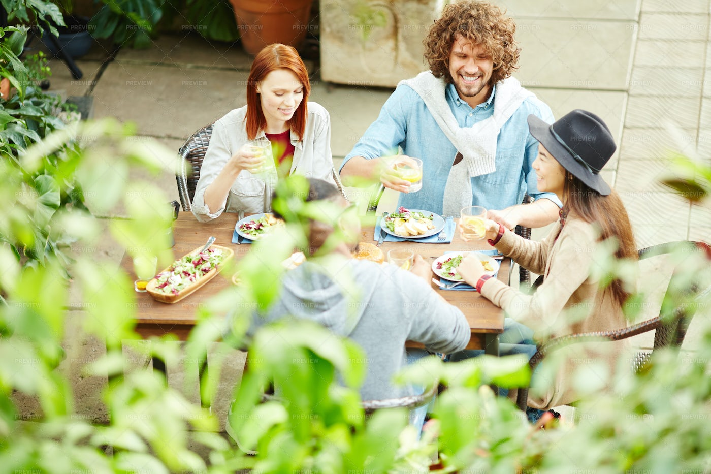 Talking By Dinner: Stock Photos