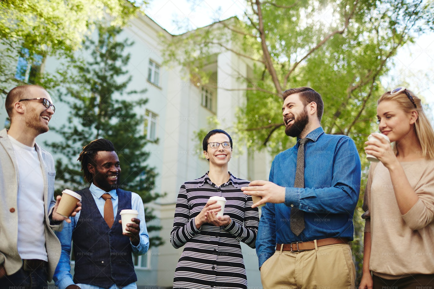 Spending Coffee Break Outdoors: Stock Photos