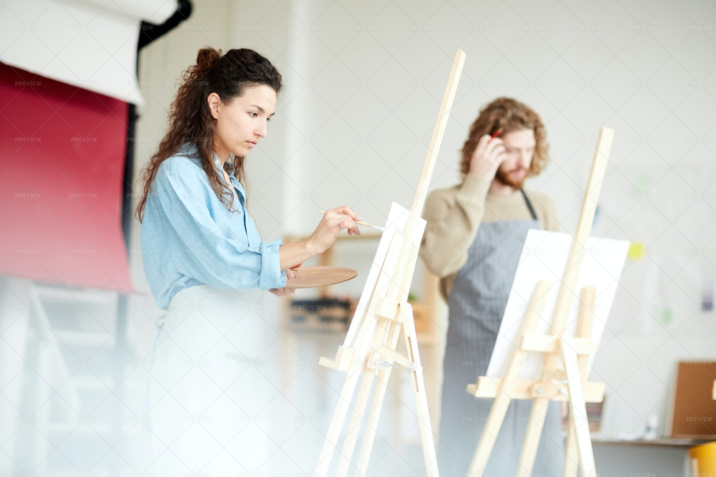 Painting In Workshop: Stock Photos