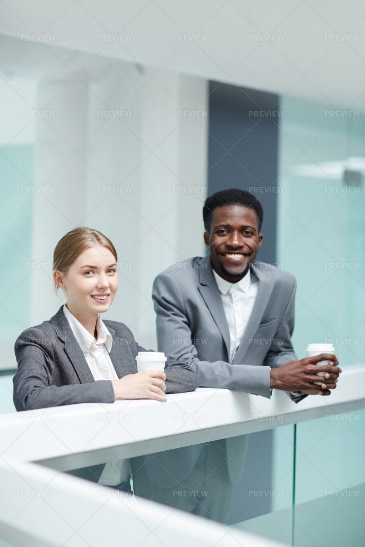 Young Colleagues Having Coffee Break: Stock Photos