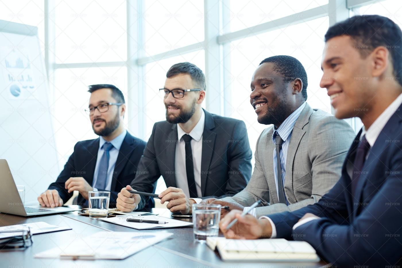 Presentation Of Team Leader In Boardroom: Stock Photos